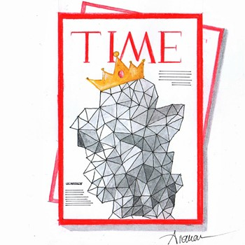 Time magazine cover with a pattern wearing a crown
