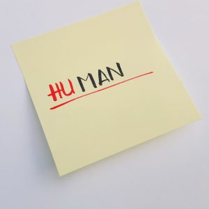 "Sticky note saying ""Human"""
